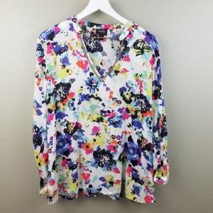 Nicole Miller Floral Roll Tab Sleeve Blouse Large